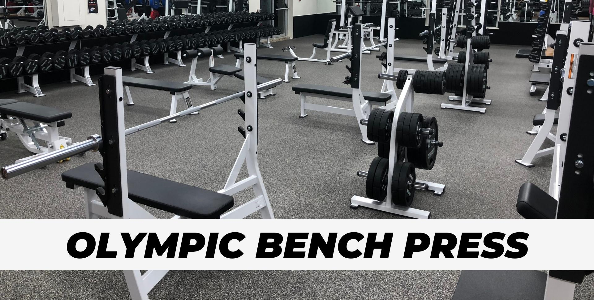 Olympic Bench Press stations at gym for portfolio pic